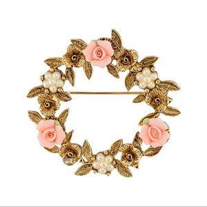 1928 Boutique Porcelain Rose Brooch Pin